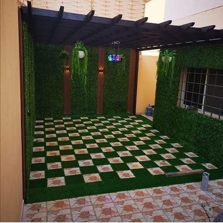 تركيب عشب صناعي بالمدينة المنورة للحدائق والملاعب وتنسيق حدائق منزلية وجلسات حدائق